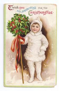 Clapsaddle Girl in White Furry Snowsuit Garre Signed 1909