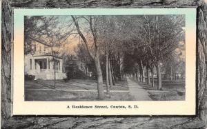 Canton SD~Residence Street~Tree-Lined Sidewalk~No Rain Will Beat Brookings~1915