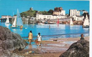 Harbour Sands and Castle Hill, Sail Boats, TENBY, Pembrokeshire, Wales, Unite...