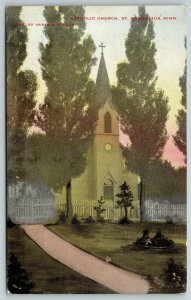 St Bonifacius MN Path to Picket Fence in Front of Old Catholic Church~c1910