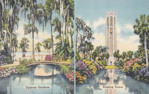 ADV: Cypress Gardens, Singing Tower, Map on the Back, FLORIDA, 30-40's