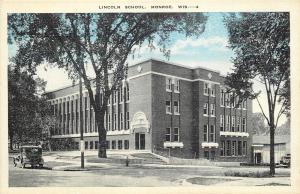 Monroe Wisconsin~Model Car~Arch Over Door~Lincoln School~1920s Bluesky Postcard