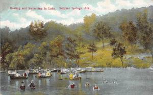 Arkansas AR Postcard 1914 SULPHER SPRINGS Boating Swimming LAKE