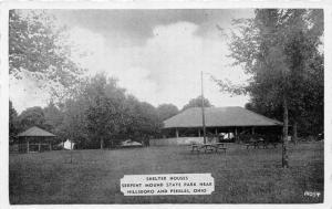 F5/ Peebles Ohio Postcard c40s Shelter House Serpent Indian Mound Park 3