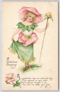 M Dulk~Fantasy Pink Wild Flower Girl~Sweet Briar Rose Petal Dress~Hat~Gibson Art
