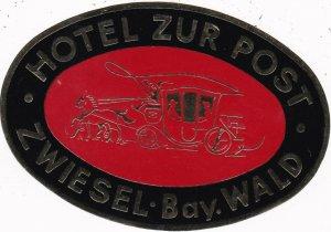 Germany Zwiesel Hotel Zur Post Vintage Luggage Label sk1214
