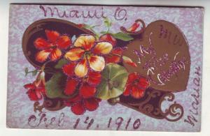 P84 JLs neat 1910 valentines postcard glitter embossed heart