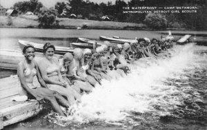 Detroit Girl Scouts CAMP METAMORA Swimming c1940s Vintage Postcard