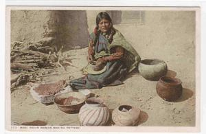 Moki Indian Woman Making Pottery Native American 1910c  postcard