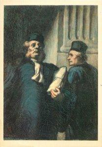 Postcard painting reproduction Daumier le deux avocats