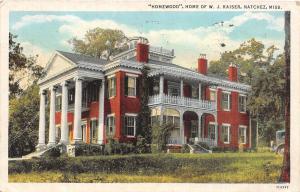 D94/ Natchez Mississippi Postcard 1940 Homewood Home Mansion W. J. Kaiser