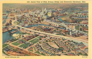 Air View of Downtown Cleveland, Ohio OH, Linen
