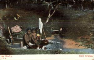 Nude Woman Laundry at River in Mexico c1910 Postcard