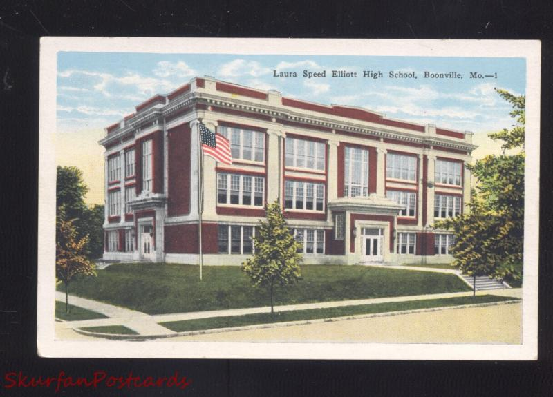 BOONVILLE MISSOURI LAURA SPEED ELLIOTT HIGH SCHOOL ANTIQUE VINTAGE POSTCARD