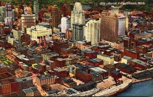 Michigan Detroit Aerial View Curteich