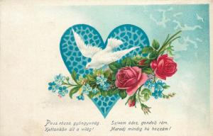 Old postcard white dove heart floral fantasy greetings postcard hungarian text