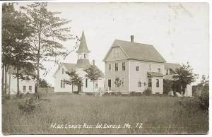 West Enfield ME Church H. W. Lord's Residence RPPC Real Photo Postcard