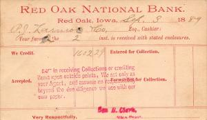 Red Oak Iowa National Bank Postal to P J Larmon & Co (Stanton) Geo Clark 1889
