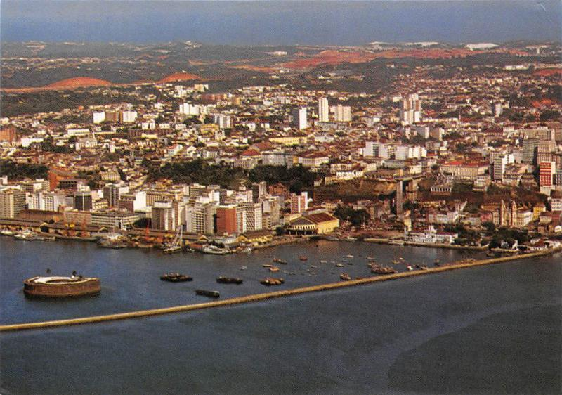 Brazil Salvador Air view with Sao Marcelo Fort Boats