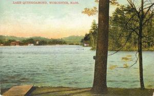 Worcester Massachusetts~Lake Quinsigamond~Shoreline Cottages~1908 Postcard
