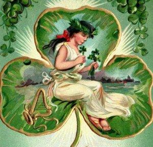 c 1909 Raphael Tuck Postcard St Patrick Pretty Woman Green Little Shamrock Harp