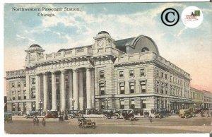 Old Postcard of Northwestern Passenger Station Chicago IL Madison Street Scene