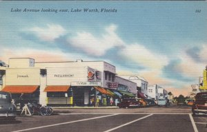 Florida Lake Worth Lake Avenue Looking East Rexall Drug Store sk1151a
