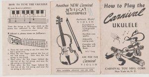Carnival Ukelele Instructions, Vintage Fold-Out