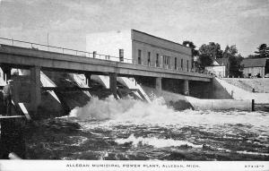 Allegan Michigan~Municpal Power Plant & Dam~1920s B&W CR Childs Postcard