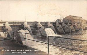 F54/ Elkhart Indiana RPPC Postcard c1910 St Joe Dam Power House