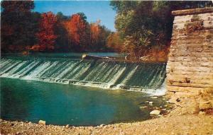 Laurel Indiana~Whitewater Canal Feeder Dam~1950s Postcard
