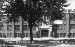 Archbold Ohio~Big Shade in Front of Entrance to High School~RPPC c1950 Postcard