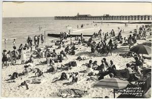 Palm Beach Pier FL Bathers at Beach Real Photo RPPC Postcard