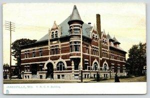 Janesville Wisconsin~YMCA Building~Victorian Lady in Street~c1910 TUCK