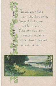 ST. PATRICK'S DAY, PU-1918; Country Scene, Shamrocks, Poem