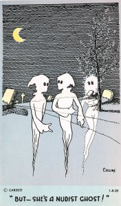 G19/ Interesting Postcard c1940s Nudist Comic Ghosts Cemetery Haunted