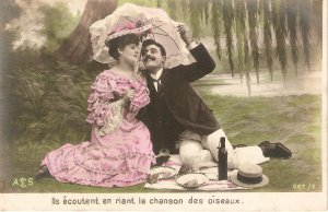Couple. a Romantic Picnic  Nice old vintaage French postcard