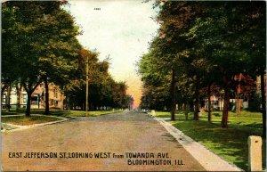 Vtg Carte Postale 1910s Bloomingotn Illinois Il - East Jefferson Rue Looking