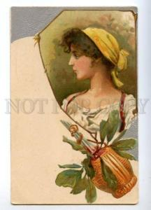 160476 ITALY Girl w/ Wine ART NOUVEAU Vintage Embossed PC