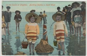 Sussex; On The Sands, Brighton, Building Castles Is Hard Work PPC Unused, c 1910