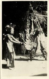 indonesia, BALI, Ramayada Dancer Rama and Garuda, Mask (1930s) RPPC (1)