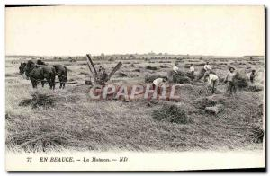 Old Postcard En Beauce The Harvest Agricultural Machinery Horse TOP