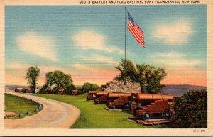 New York Fort Ticonderoga South Battery and Flag Bastion Curteich