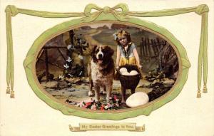 Dog Saint Bernard , Easter  Portrait Girl,   basket of giant eggs