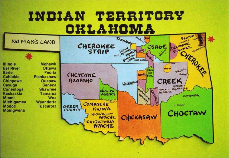 Postcard of Oklahoma Native American Tribes Map #1 ...