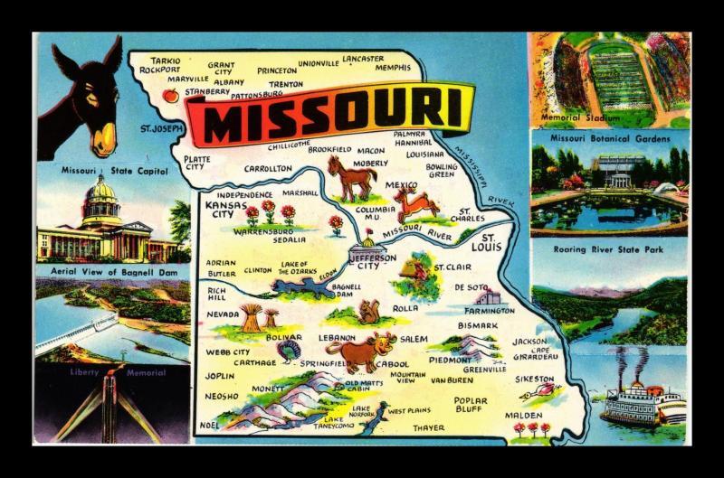 MISSOURI STATE MAP AND LANDMARKS / HipPostcard
