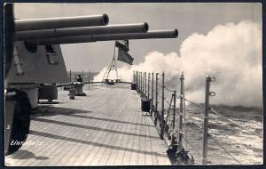 German Battleship Guns on Deck Real Photo PC unused c1910's