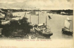 siam thailand, Shipping on the Menam River near Windsor & Co., Steamers (1899)
