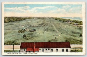 Ormond Florida~Birdseye Golf Course~Club House~Golfers on Links~1916 Postcard