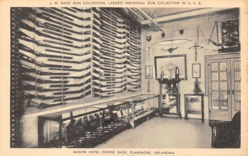 Claremore Ok Oklahoma Mason Hotel Coffee Largest Gun Collection Postcard